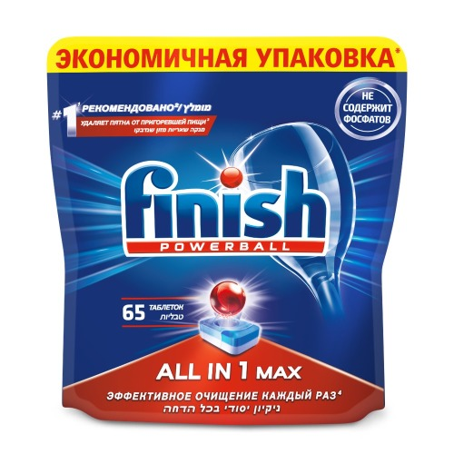 FINISH FINISH All in1 Max Средство для мытья посуды в посудомоечных машинах таблетки 65шт