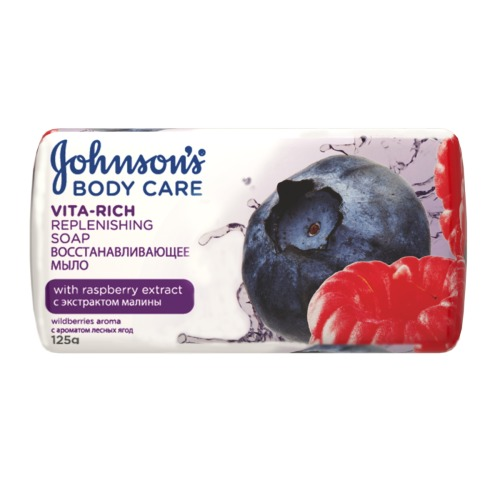 Johnson`s Johnson's Body Care VITA-RICH Восстанавливающее мыло с экстрактом малины c ароматом лесных ягод 125 г