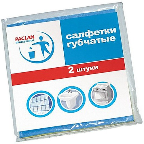 PACLAN PACLAN Салфетка для уборки губчатая 18х18см 2шт