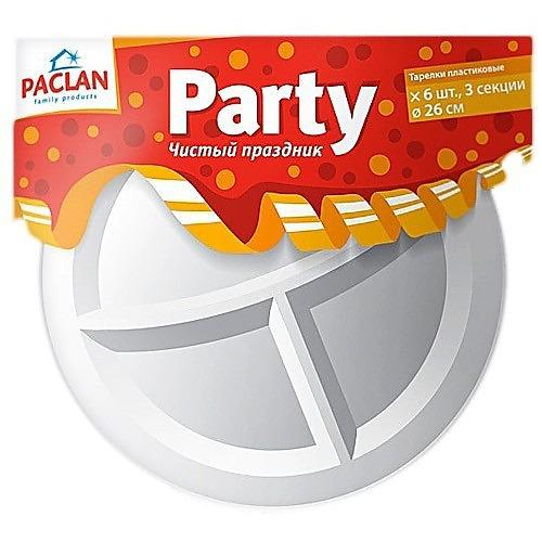 PACLAN PACLAN Party Тарелка из полистирола 3-х секционная 260мм 6шт