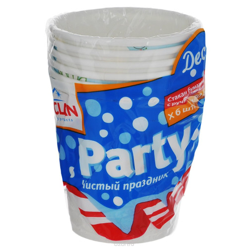 PACLAN PACLAN Party Стакан бумаж с ручкой с рисунком Decor 180мл 6шт/уп