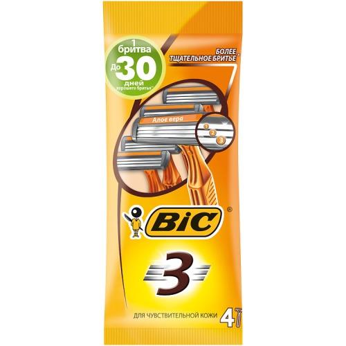 BIC BIC Бритвенный станок с 3 лезвиями BIC3 Sensitive для чувствительной кожи блистер 4 штуки