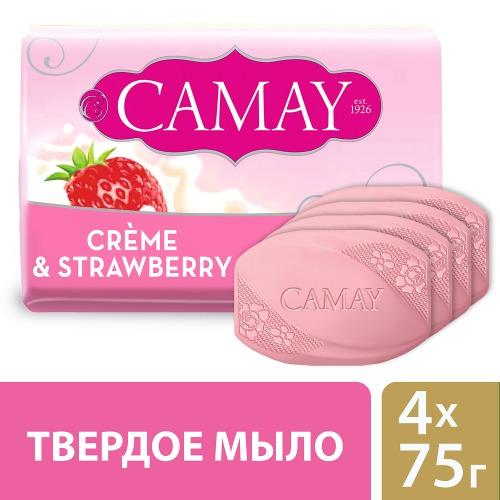 CAMAY CAMAY Мыло твердое Клубника со сливками 4х75г