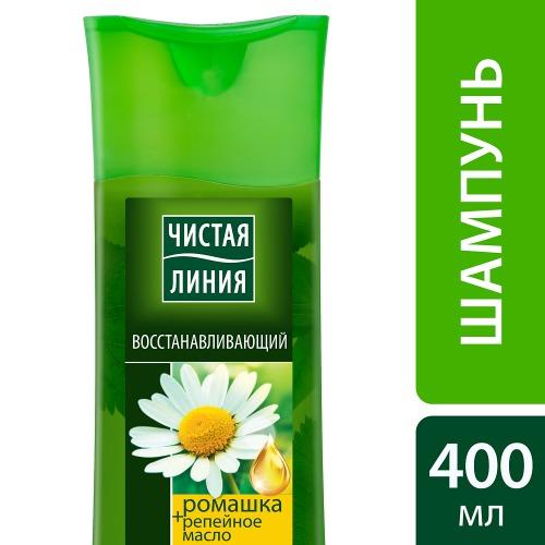 Чистая Линия ЧИСТАЯ ЛИНИЯ Шампунь для сухих и повреждённых волос восстанавливающий на отваре целебных трав с экстрактом ромашки 400мл