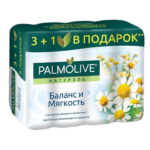 Palmolive ПАЛМОЛИВ Мыло Баланс и Мягкость с экстрактом ромашки и витамином Е 4*90г