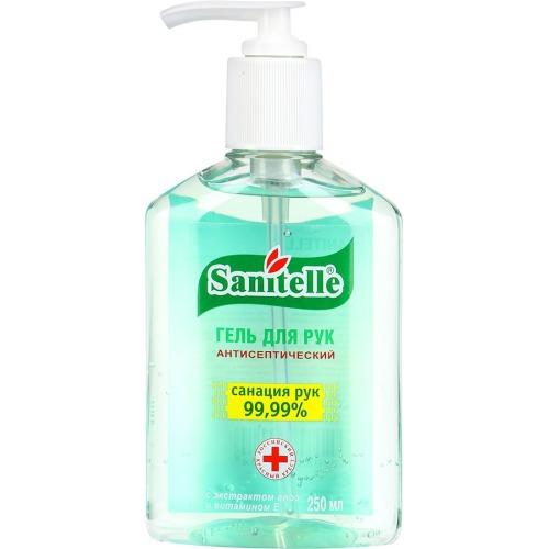 Санитель (Sanitelle) САНИТЕЛЬ Гель для рук антисептический с экстрактом АЛОЭ и витамином Е, флакон с помпой-дозатором 250 мл